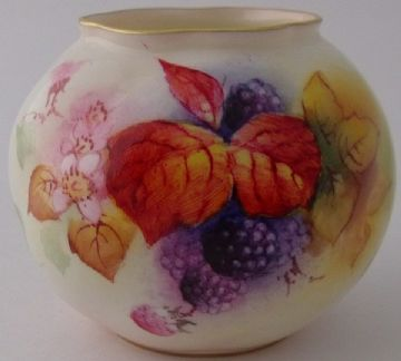 Royal Worcester Fruit And Leaves Vase By M Miller
